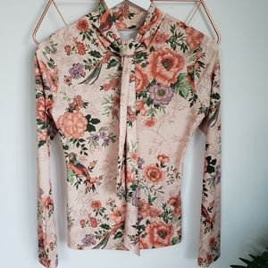 New, Zara Peach Floral Tie Front Blouse, XS